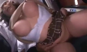 Busty cute japanese schoolgirl groped and squirting on a bus.