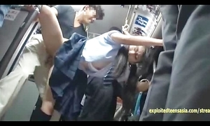Jav schoolgirl ambushed in the first place public bus screwed stand-up in say no to unalterable