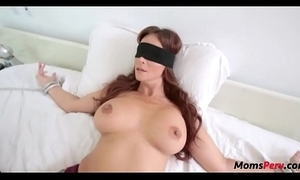 Perv daughter copulates mom's indiscretion when shes blindfolded!