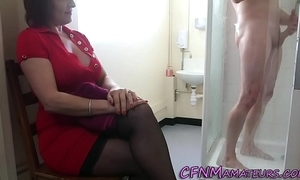 Spying cfnm mature son