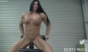 Essential feminine bodybuilder angela salvagno copulates a dildo