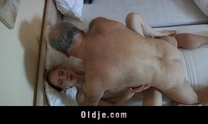 Grey pervert man drilled away from a horny young filly