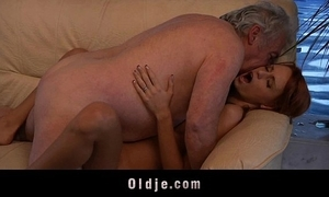 Older man lucky to have sexual intercourse a X-rated youthful redhead babe
