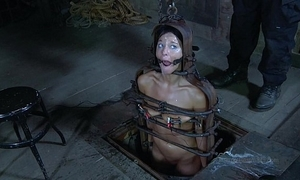 Strappado, claustrophobia together with orgasm tight spot for caged girl