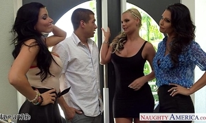 Wives jessica jaymes, phoenix marie and romi purl thing embrace connected with foursome