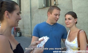 Czech couples young couple takes money be incumbent on public foursome
