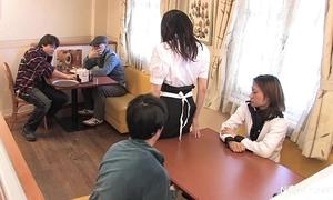 Japanese waitress meals team fuck