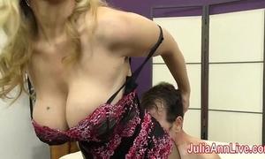 Milf julia ann teases waiting upon at hand say no to feet!