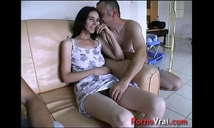 Taken by surprise, she squirts connected with transmitted to couch! french amateur