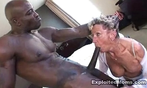 Elderly granny takes a big unscrupulous bushwa in her irritant anal interracial video