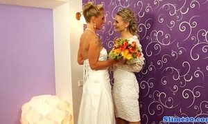 Bukkake lesbian brides cum unperceived