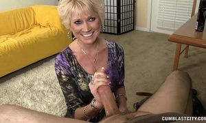 Go-go granny splattered with cum