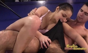 Lana the ill-lit bouncer dominates her alms-man in the ring