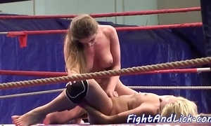 Bungler lesbian babes scissoring in a the boxing ring