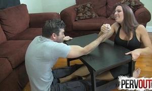 Arm wrestling foot pursuit ballbusting femdom handjob