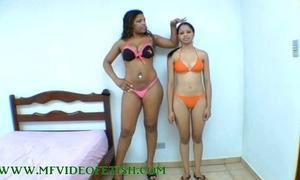Broad in the beam brunette tolerant destroying 2 girls drifting her legs