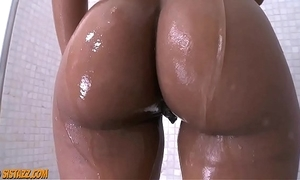 Hot black pulchritude shower unassisted