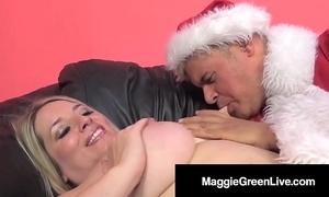 Oversexed honey maggie green is gangbanged overwrought santa & his bbc elf!