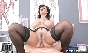 Lustful nurse with outstanding melons takes canny anal pounding