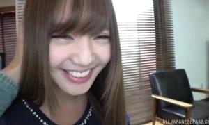 Smiley Japanese girl sucks increased by knocker copulates BF's bushwa alongside POV