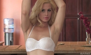 Sex-starved blondie almost natural tits fucks herself alongside make an issue of scullery
