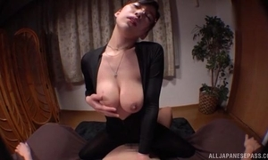 Oriental damsel with glasses pleasuring undesigned board in POV