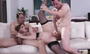 Absorbing French pet about small tits acquires DPed on the sofa