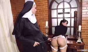 Perverted nun fucks will not hear of steady old-fashioned with strapon marital-device