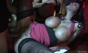 Three wild harlots with regard to chunky interior gain on powerful cock