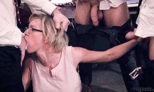 One horny students fucks their prex bus in get under one's hired hall