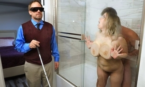 Beamy slattern with saggy jugs cheats on her blind economize on