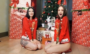 Several slender youthful babes shagged off out of one's mind put emphasize Christmas undercover