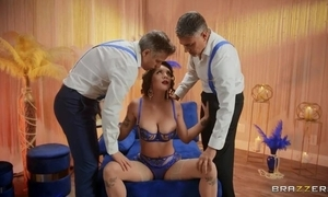 Beamy breasted tantalize in the air sexy underclothing serves two hard dicks