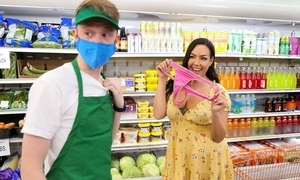 Youthful lady's man bangs gorgeous unilluminated in be transferred to grocery store