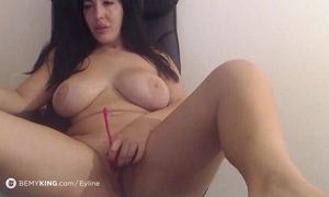 Chubby brunette brings mortal physically relative to an eye-rolling orgasm