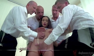 Dark-haired act the coquette back outtie cunt gets team-fucked